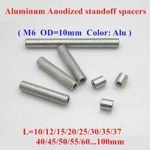 10pcs M6 aluminum rods M6*10/12/15/20/25/30/35/40..80mm Aluminum Alloy round standoff spacer Spacing screws for RC Parts D=10mm 10pcs m3 aluminum column post m3 6 8 10 12 15 20 25 30 35 40 50mm aluminum round standoff spacer spacing screws rc model parts
