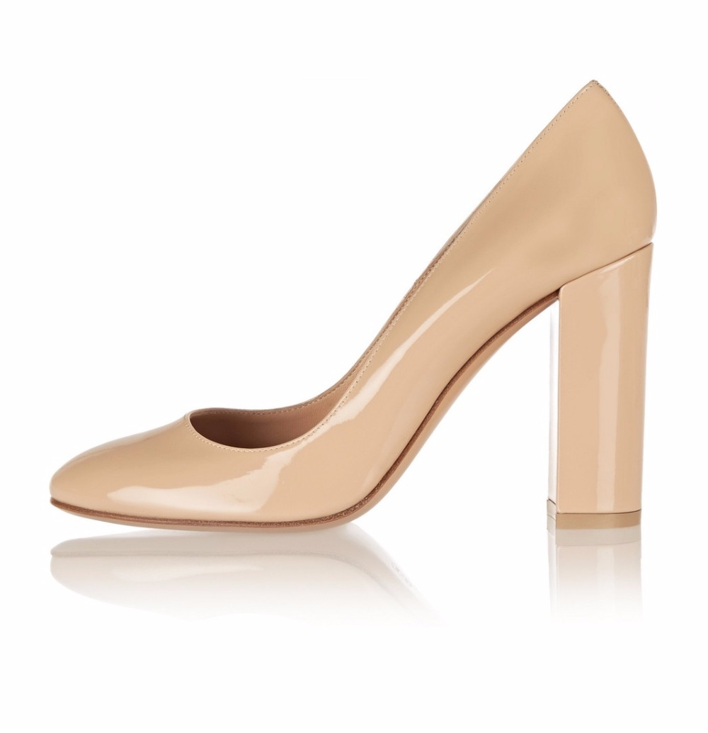 ФОТО Women's Chunky Heel Round Toe Pumps Slip On High Heel Fashion Party Dress Shoes Wedding Bridal Shoes large Big Shoe Beige Black