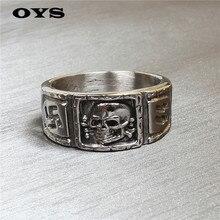 Aj084 americanos joyas retro alimentación alemania cráneo anillo de titanio hombres de personalidad