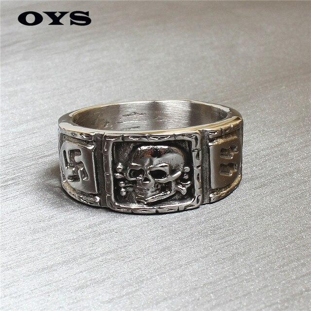 Aj084 американский питания ювелирные изделия ретро германия череп титановые кольца мужской личности