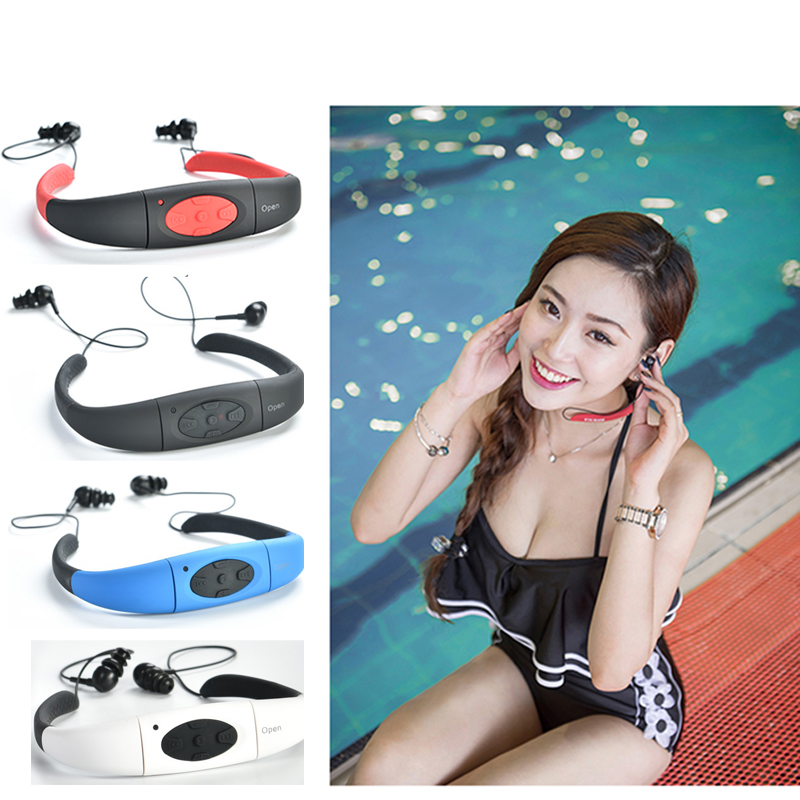 Espanson 4G Waterproof MP3 IPX8 Music Player Underwater Sports Neckband Swimming Diving FM Radio Earphone Stereo Audio Headphone