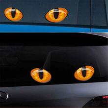 Car sticker 2 pieces 9 * 7cm cute simulation cat eye car stickers 3D decal rear view lens motor cover window decoration цена