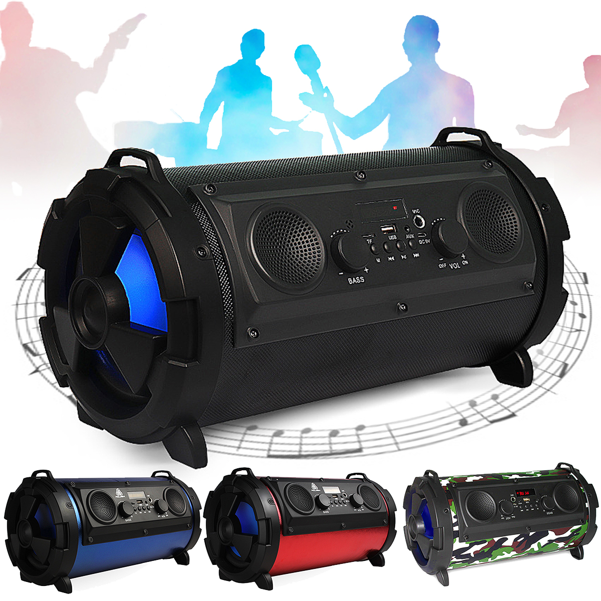 Outdoor Portable Wireless Bluetooth Speaker Subwoofer and Mic Super Bass Woofer HIFI Stereo Loundspeaker Support TF USB FM Radio portable wireless bluetooth column speaker stereo subwoofer support usb sound box tf fm radio with mic dual bass loudspeaker
