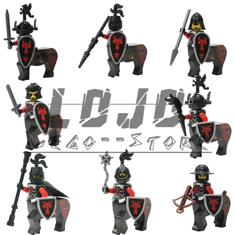 Marvel Avengers Super Heroes Building Blocks 8pcs/Lot Dragon Knight Medieval Castle Red Dragon Heavy Shield Dolls Children Toys