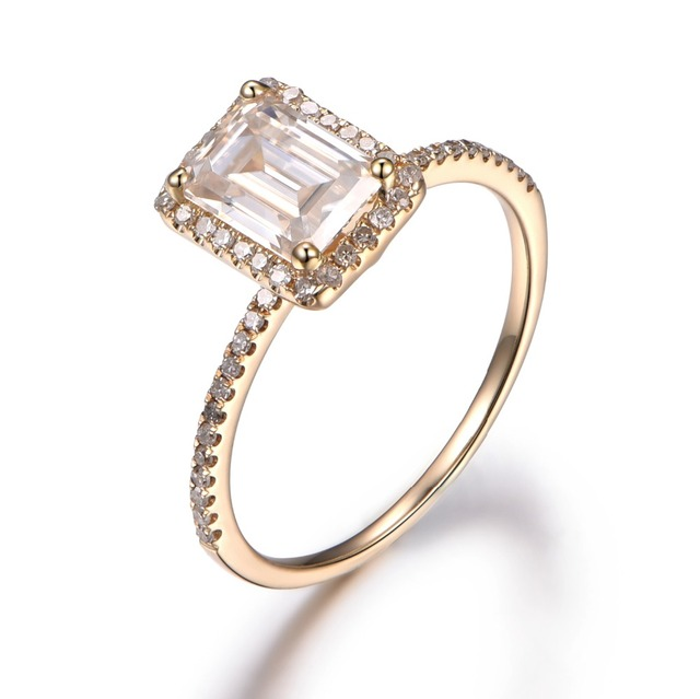 Myray 5x7mm Emerald Cut White Moissanite 14k Yellow Gold Engagement Ring Diamond Wedding Halo Anniversary