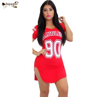 O Neck Short Sleeve Number Letter Printing Red Side Open Women Sport Mini Dress Casual Sexy