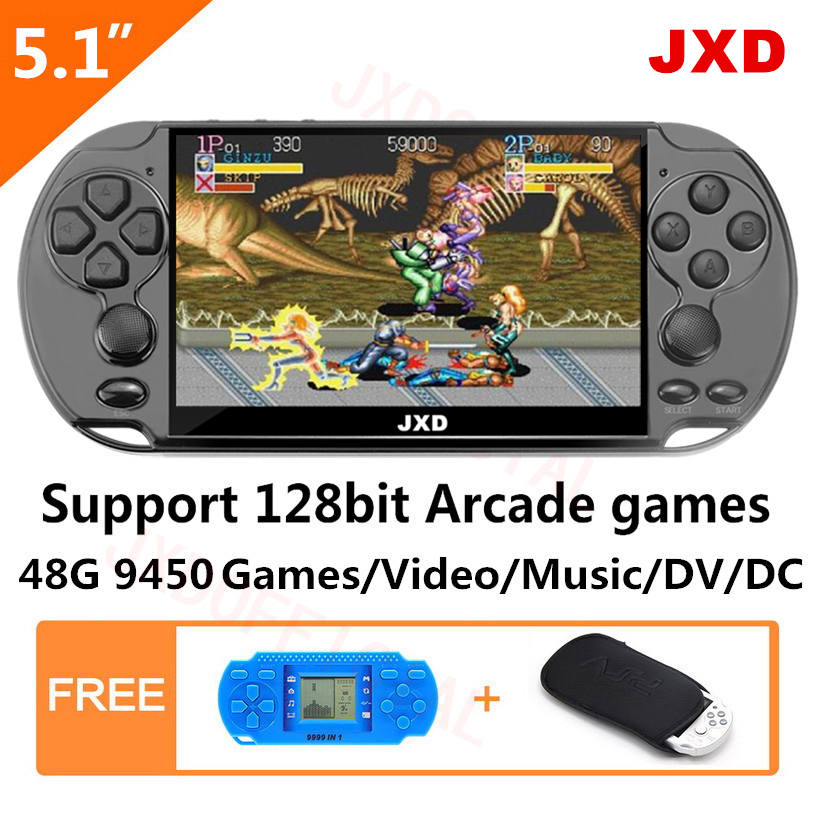 48GB 128Bit Handheld Game Console JXD 5.1 polegada MP4 embutido 9450 jogo de arcade Video Game Console/gba /gbc/snes/fc/smd presente do miúdo