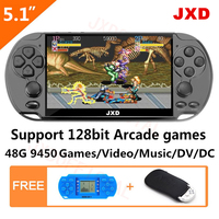 JXD 48GB 128Bit Handheld Game Console 5.1 inch MP4 Video Game Console built in 9450 game for arcade/gba/gbc/snes/fc/smd kid gift