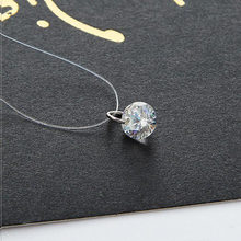 2018 New Fashion Zircon Necklace 8MM Shiny Crystal Pendant Necklace For Women Gift For Friend Wholesale Dropshipping(China)