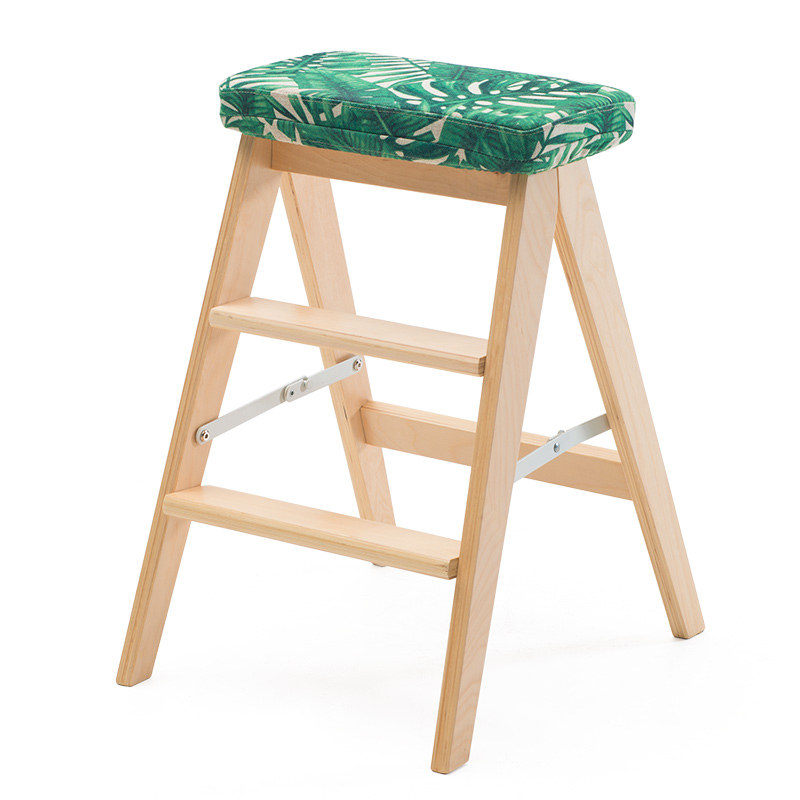Modern Foldable Wooden Ladder Stool Bench 3 Step Chair Kitchen Furniture  Small Footstool With Seat Cushion Household Step Stool In Step Stools U0026  Step ...
