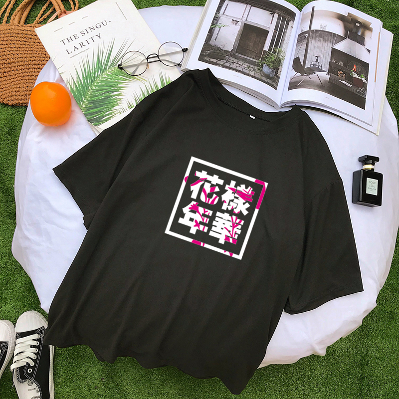 Verão estilo coreano harajuku t camisas femininas manga curta o-pescoço camisa femme streetwear topos kpop carta impressão camisa mujer