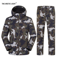 THE ARCTIC LIGHT Mens Womens Winter Outdoor Sports Sets Trekking Hiking Camouflage Tactical Jacket&Pants Windproof Thermal