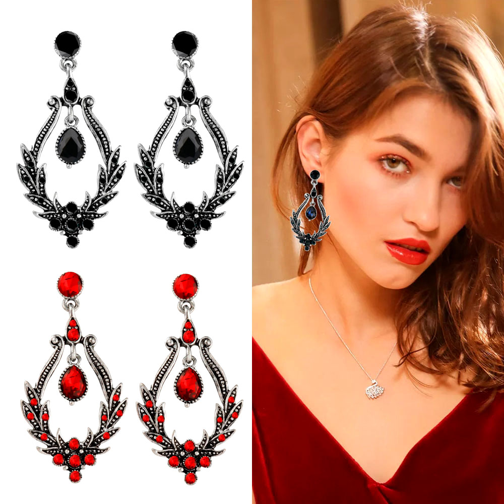 SINLEERY Vintage Gothic Style Hanging Chandelier Earrings With RedBlue Cubic Zirconia Women Wedding Party Jewelry Es611 SSH