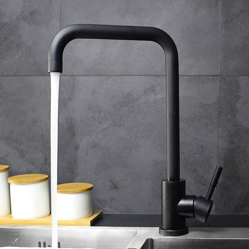 Black White color SUS304 Stainless Steel Kitchen Faucets Cold and Hot Mixer Sink Rotation Kitchen Water
