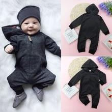 0-2Y Newborn Baby Boys Black Zipper Hooded Romper Outfit Lon