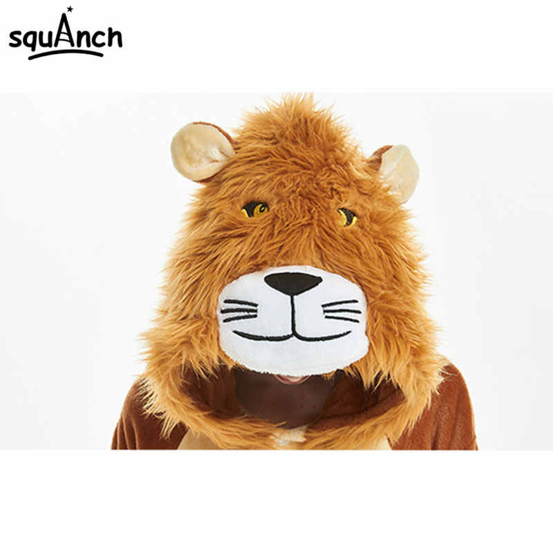 6f35ad3cb4e5 ... Animal Brown Lion Kigurumi Onesie Cartoon Soft Flannel Pajama Women  Adult Sleepwear Winter Warm Jumpsuit Hooded ...