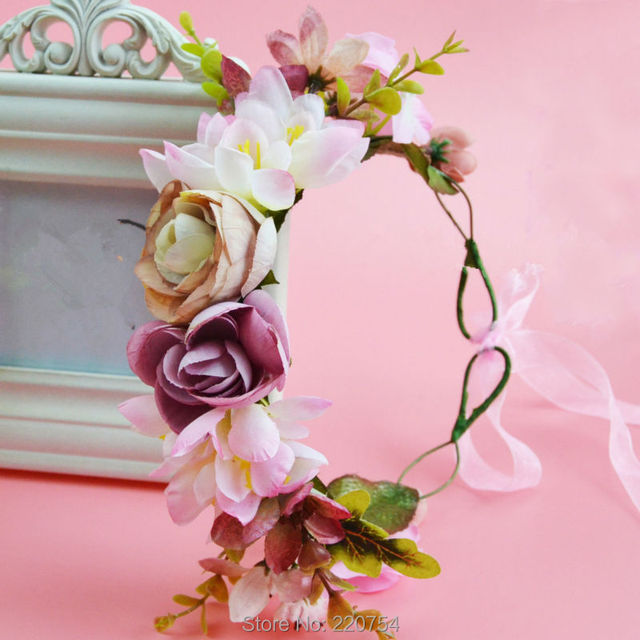 2017 Women Newest Wedding Floral garland with Ribbon Adjustable girls flower crown Rose Flower Wreath
