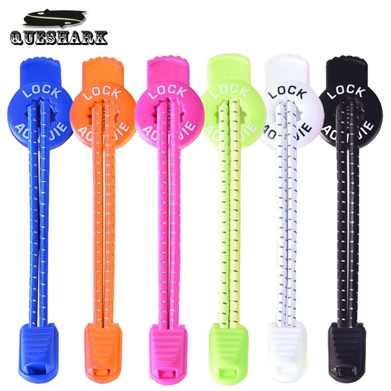Queshark 120cm Sports Reflective Shoelaces Running Hiking Visible Safty Lock Laces Round Elastic Cycling Shoestrings With Buckle