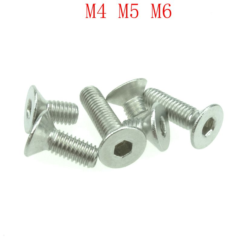 20 PCS Stainless Steel 304 M4 M5 M6 M8 Hexagonal Countersunk Screw Flat Head Screw Bolt 50 pieces metric m4 zinc plated steel countersunk washers 4 x 2 x13 8mm