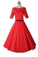 Rode half mouw V backless lange vintage 50 s 60 s jurk retro audrey hepbum elegante pure party prom dame meisje vrouwen femininos