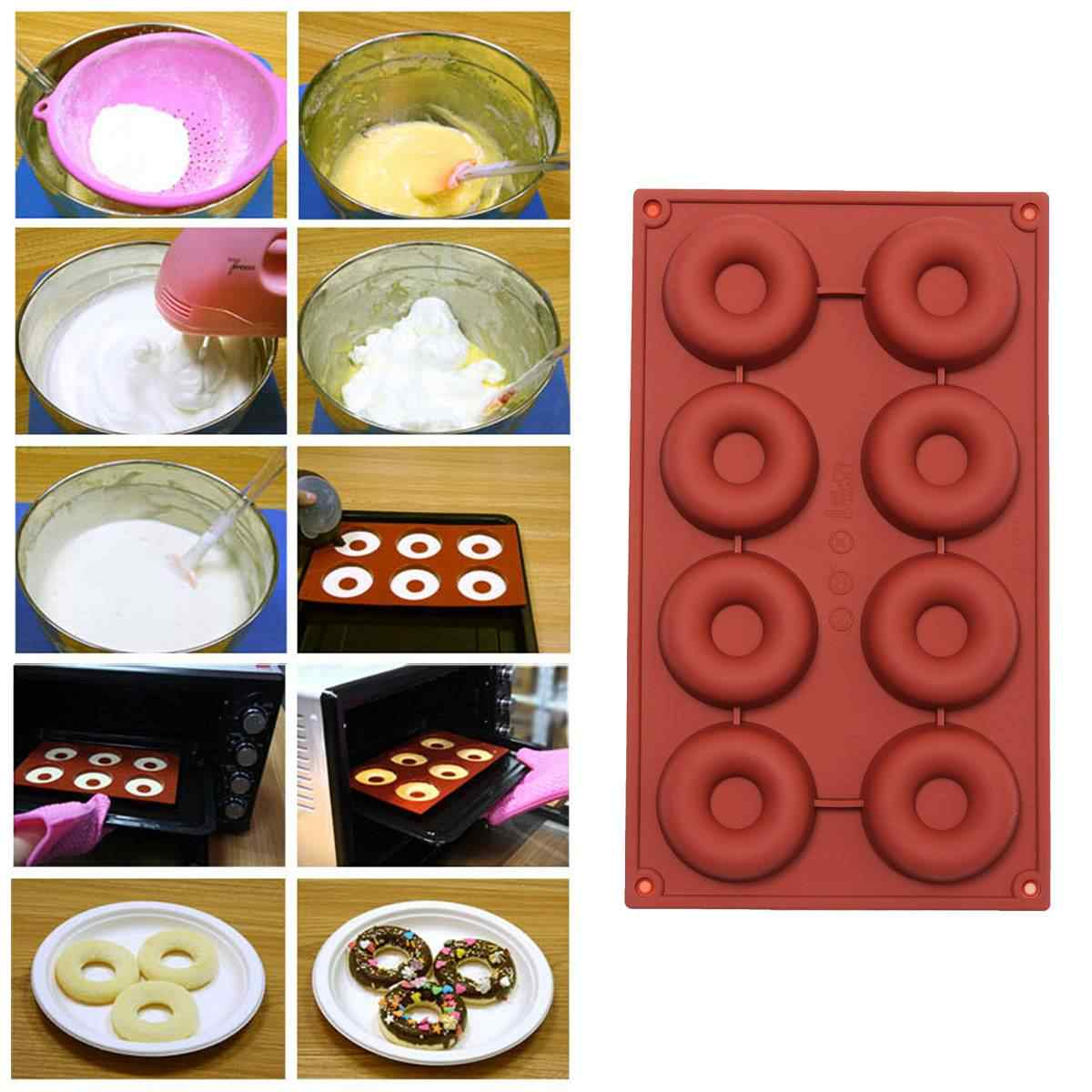 1Pcs Round Shaped  8 Holes Silicone Donut Doughnut Chocolate Muffin Pan Maker Soap Cake Mold Baking Mould Angel Circle Pudding