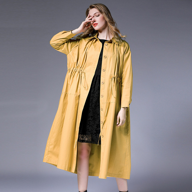 Women loose fashion plus size trench coat Sequins Collect waist skinny Elegant coat oversize long sleeve casual long coats new
