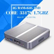 Безвентиляторный Мини-ПК, Core I5 3317U, HD Видео, LAN, HDMI + VGA, 6 * USB, Случай Компьютера, Мини-Хозяева, Windows 7, Таблетки