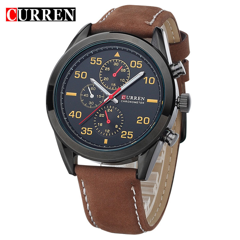 цены  NEW Leather Wrist Watch Quartz Watch Men CURREN Brand Military style Sport Watch With Date Clock Male Reloj Relogios Masculinos