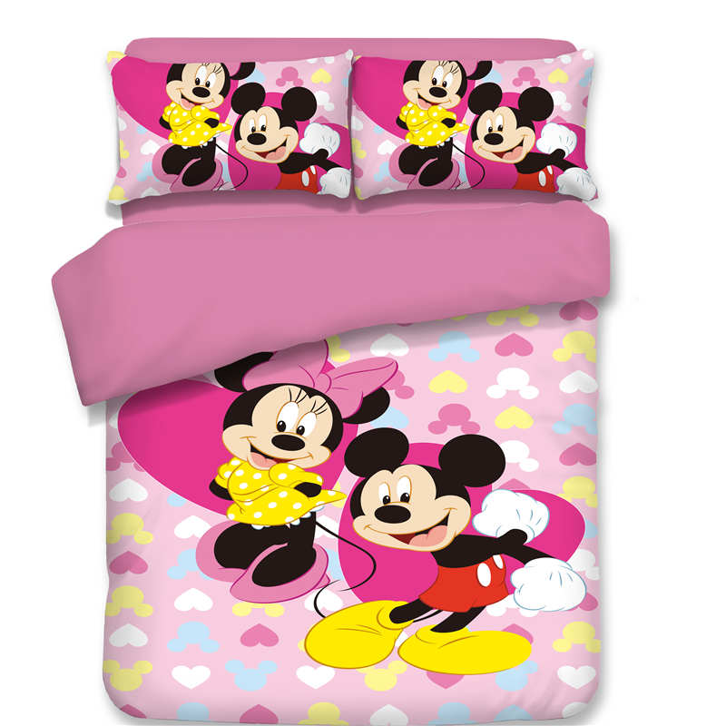 mickey mouse minnie bedding set twin single queen king sizes 3d duvet covers 3 or 4 pieces heart dot bed linens girl pillow casemickey mouse minnie bedding set twin single queen king sizes 3d duvet covers 3 or 4 pieces heart dot bed linens girl pillow case