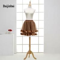 Baijinbai Wholesale New Style Summer Short Petticoat Underskirt Tiered Brown Crinoline Skirt Colorful Cheap Tulle Petticoats