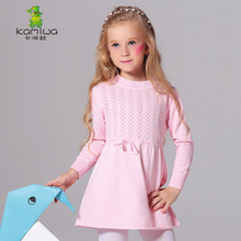 KAMIWA 100% Cotton Girls Dresses Long Sleeve Sweaters Baby Girls Clothing T-Shirts Kids Clothes Tees Children's Pullovers Tops