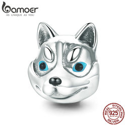 BAMOER 100% 925 Sterling Silver Dog Head Cute Husky Poodle Animal Charm Beads fit Charm Bracelet Bangles Jewelry Making SCC836