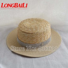 Summer Fashion Patchwork Sun Beach Hats For Women Flat Top Paper Braid Bucket Free Shipping SWDS054