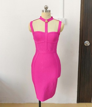 New Arrival Summer Style Sexy Cut Out Button Bandage Dress 2020 Celebrity Designer Evening Fashion Dress Vestidos 2