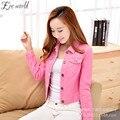 Весна 2017 Женщин сладкие конфеты цвет Розовый джинсовая куртка мода красота короткие Жан Тонкий Вскользь Пальто для Женщин