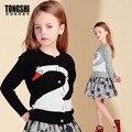 2016 Novo Outono & Primavera Menina Roupa Do Bebê Meninas Cisne Suéter de Tricô Cashmere Cardigan Crianças Crianças Casaco Marca Outwear