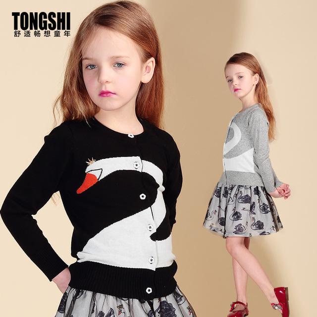 2016 Nuevo Otoño y Primavera Ropa de Bebé Niña Cisne de Las Muchachas Suéter de Cachemira Tejer Cardigan Niños Niños de la Capa Outwear Marca