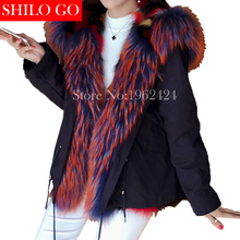 HOT Free transport 2016 new winter style girls top quality shade flamingo fox raccoon fur lengthy darkish blue fur parka & XL