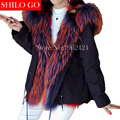 HOT Free shipping 2016 new winter fashion women high quality color flamingo fox raccoon fur long dark blue fur parka & XL