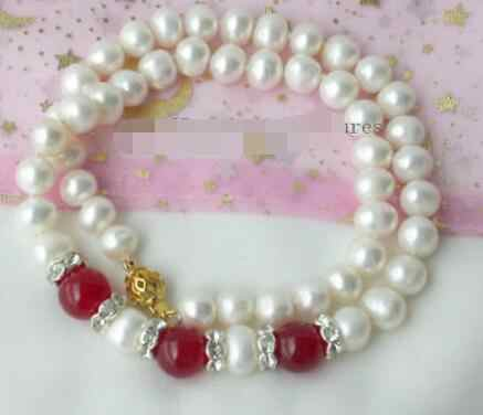 Elegant FW white pearl 9-10mm red jade Necklace