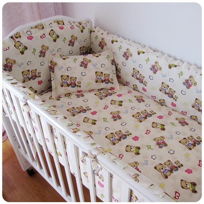 Promotion! 6PCS 100% cotton cot baby bedding sets, bed linen bear print crib bedding sets (bumper+sheet+pillow cover) promotion 6pcs baby cot bedding sets bed linen 100% cotton bedclothes crib bedding set include bumper sheet pillow cover