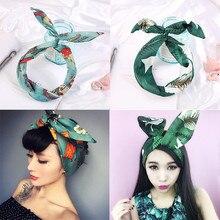 Summer Womens Flora Print Headband Fashion Twill Simulation Silk Washing Variety Iron Wire Hair Accessories