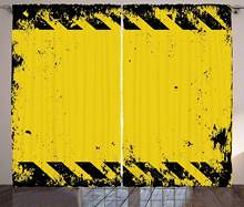 Vintage Yellow Curtains Hazard Theme Caution Construction Tape Illustration with Grunge Look Living Room Bedroom Window Drapes(China)