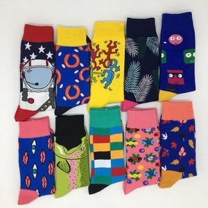 Image 4 - 10 pair/lot Mens fashion Pattern Dress Funky Fun Colorful Socks Luxury Crazy Novelty Dress Socks Cotton Happy Funny Socks