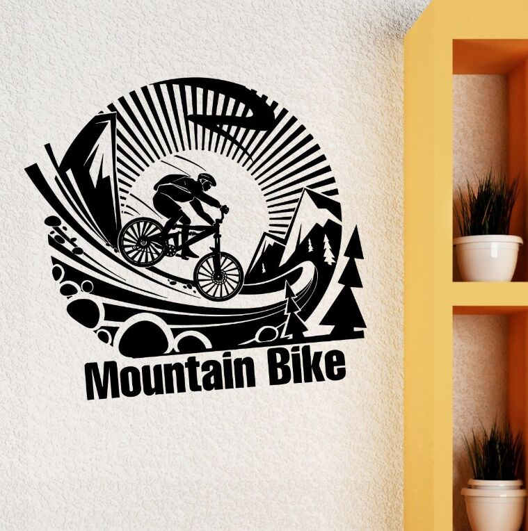 Removable Vinyl Wall Sticker Mountain Bike Extreme Sports Decal Sport Art Bicycle Poster Boys Room Decor AY801