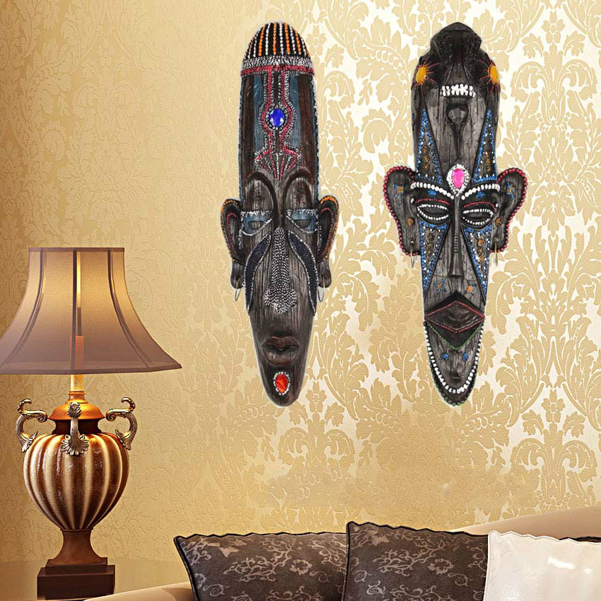 Vintage African resin face mask wall hanging pendant creative ...