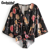 Geckoistail Velvet Women Sexy V-Neck Shirt Body Blouse Tops New Spring Print Fashion Women Casual Blouses Tops Blusas Clothing