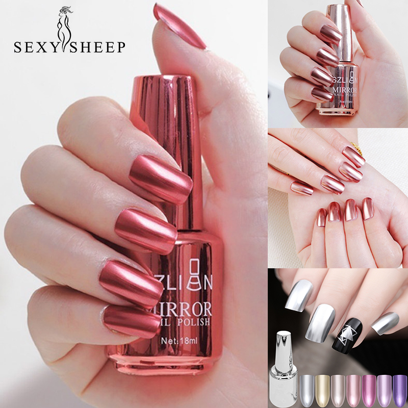 SEXYSHEEP 8/18ml Mirror Effect Metallic Nail Polish Purple Rose Gold Silver Chrome Nail Art Varnish For Nails Manicure Lacquer