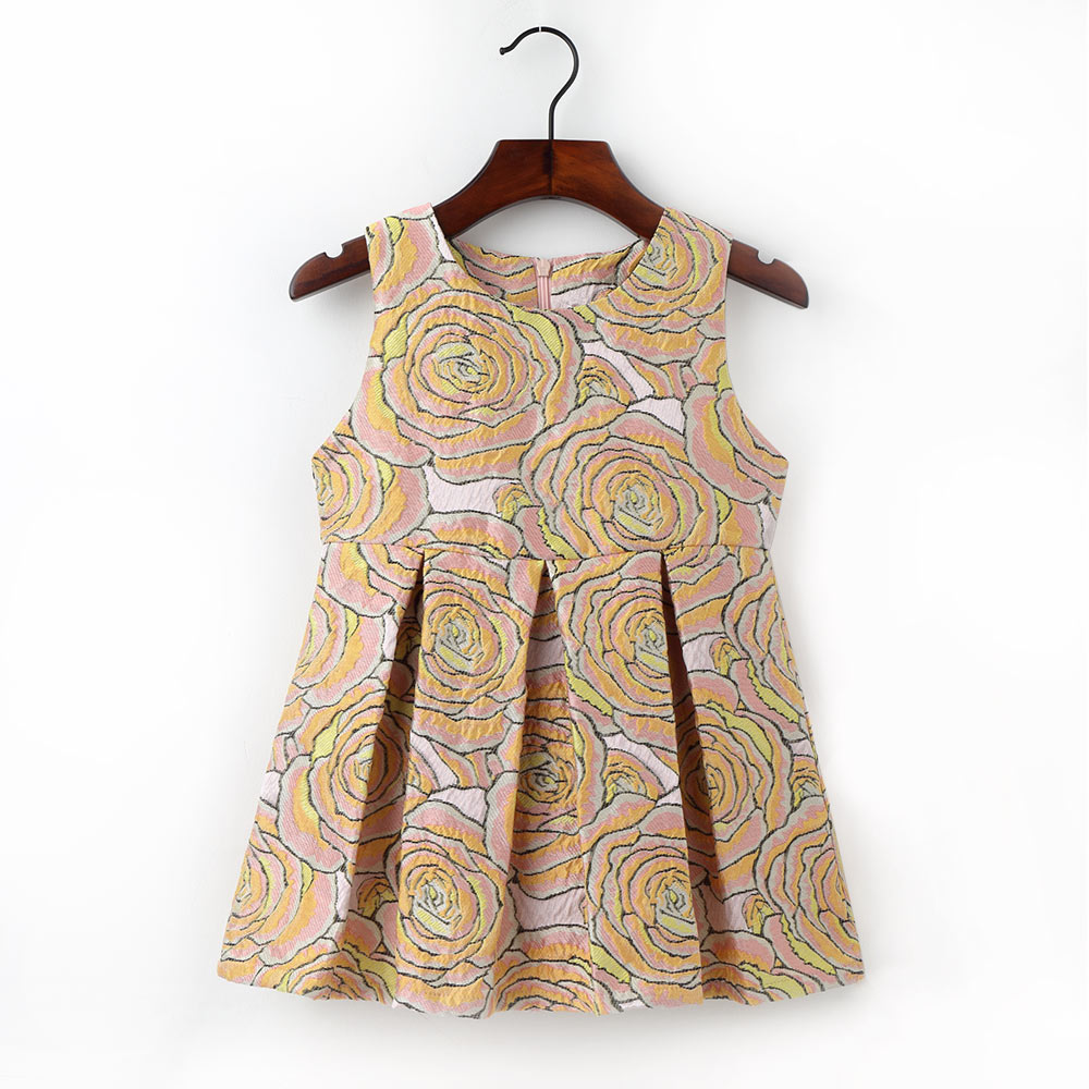 2-7Y Cute Flower Pattern Dress For Girls Kids O Neck Sleeveless Clothing Fashion A Line Dresses 2017 New Style Children Clothes 2016 new summer lovely girls dress kids colorful a line leisure fashion dresses children clothing