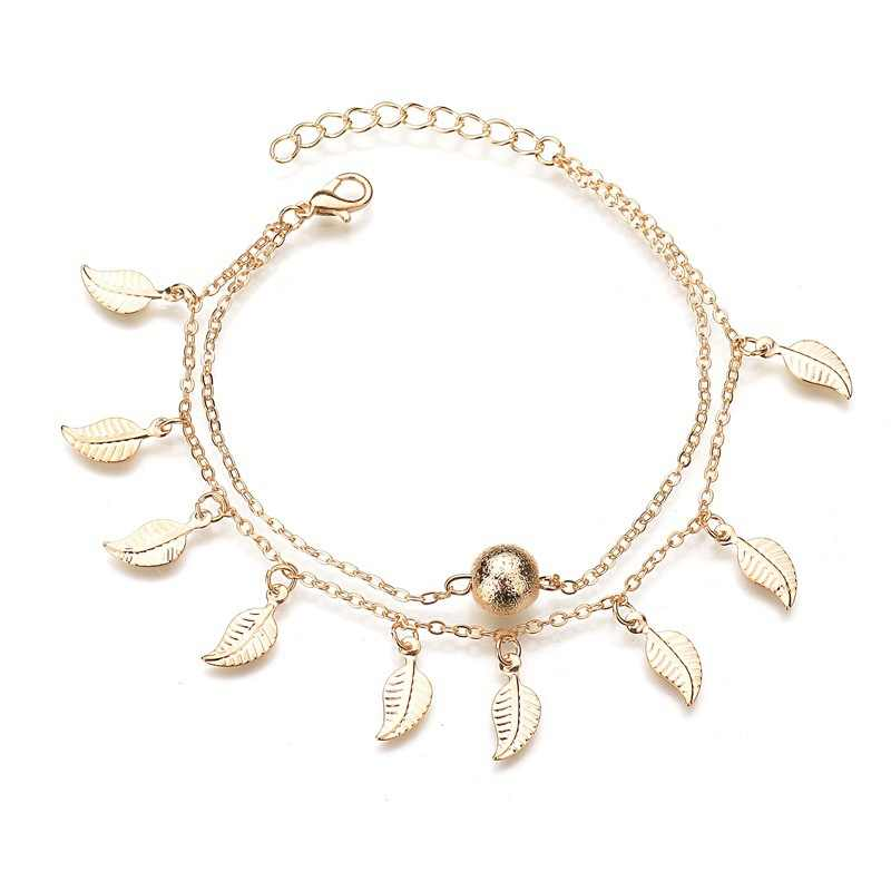 Vintage Star Elephant Anklets Bracelet For Women Boho Pendent Double Layer Anklet Bohemian Foot Jewelry Gift chaine de cheville